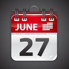 Vector calendar on black background