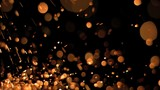 Orange bright points in super slow motion flying