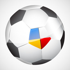 Vector soccer ball with Ukraine and Poland flags