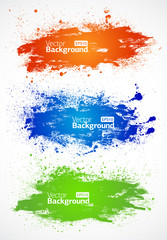 Vector colorful grunge banners on white background