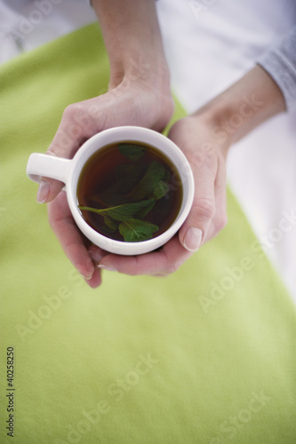 Woman holding cup of herbal tea, overhead view