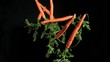 Many carrots in super slow motion coming up