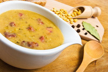 Traditional fresh pea soup