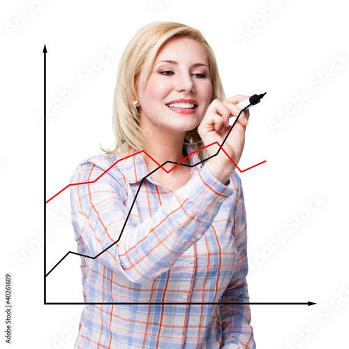 junge Frau zeichnet Diagramm