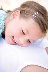 Girl smiling, close-up