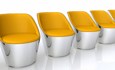 Clubchairs in a row - orange silver
