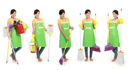 woman with cleaning tool