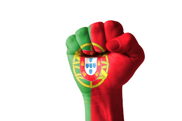 Fist painted in colors of portugal flag