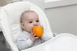 Baby biting orange
