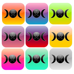 Square buttons with pagan moon phases