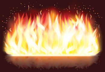 Fire flaming banner , vector illustration