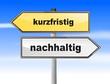 Schilder Richtung Zukunft nacdhhaltig oder kurzfristig