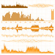 Sound waves set. Music orange background. EPS 8