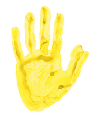 Yellow handprint isolated