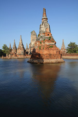 Wat Chai Wattana Ram  great flood water on Thai.