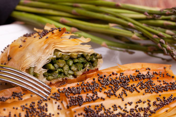 Closeup Of Rolls Of Asparagus In Crust