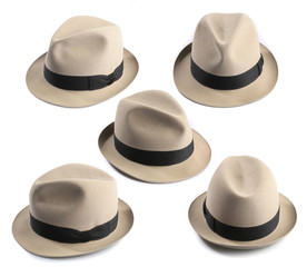 multiple view of a light fedora hat isolated on white