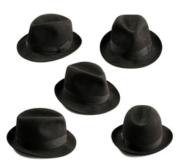 multiple view of black fedora hat isolated on white