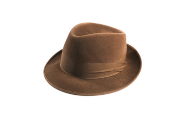 a brown fedora hat isolated on white