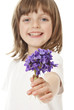 happy little girl giving a bouquet of violets