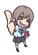 指を立てる女生徒