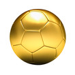 golden soccer ball isolated, white background