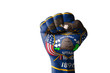 Fist painted in colors of us state of utah flag