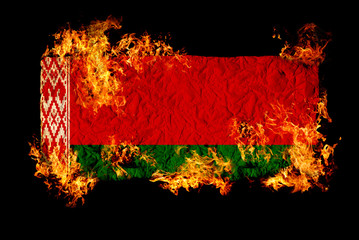 Belarus flag in fire.