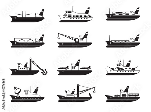 Commercial and passenger ships - vector illustration