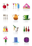 Cafe bar and restaurant icons - vector illustration poster