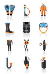 Diving equipment and accessories - vector illustration