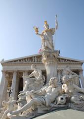 Wien: Pallas Athene Brunnen / Statue vor dem Parlament