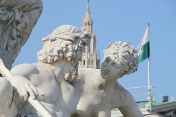 Wien: Detail des Athene Brunnen vor dem Parlament