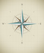 Antique wind rose symbol for navigation. Vector illustration