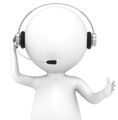 3D little human character with a Headset. Front view, isolated.