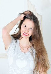 portrait of beautiful young brunette smiling