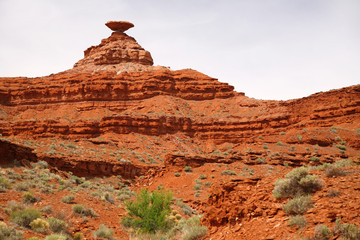 Mexican Hat mountain in Utah and the Arizona border, USA