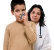 Cute boy with respiratory problem or asthma