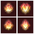 Set poker elements in fire, vector illustration