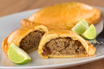 Peruvian snack called Empanada (pie) filled with beef