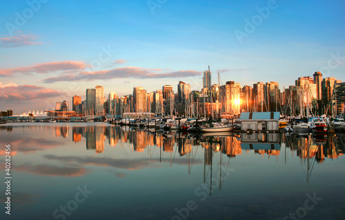 Plexiglas Canada Vancouver skyline at sunset