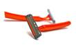 two orange razor blades