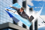 Businessman flying on airpaper plane