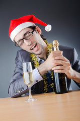 Drunken businessman after office christmas party