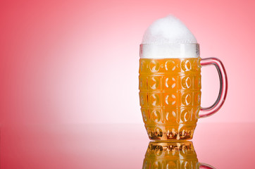 Beer glass on the table