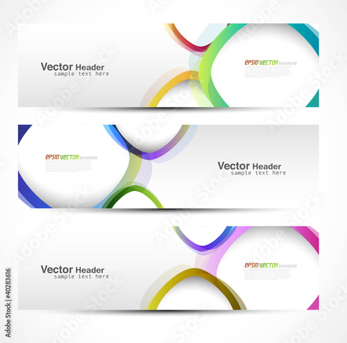 new set of three banners abstract headers