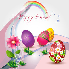 Easter card with colored eggs and flower