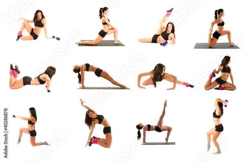 woman exercising collage - yoga,fitness,pilates,aerobics
