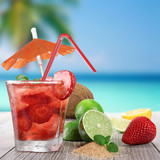 Fototapety Fresh fruit cocktail on a beach