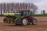 Potato planting machine coupled to the tractor
